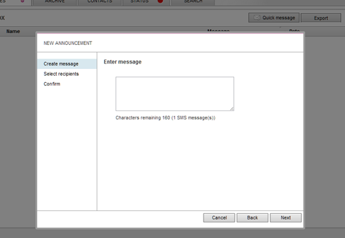 screenshot of Annoucements panel for FrontlineSMS 2